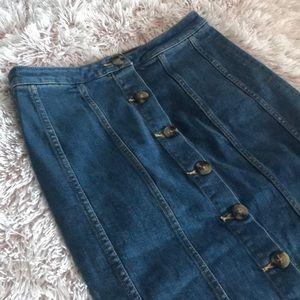 Anthropologie Pilcro Long Denim Skirt